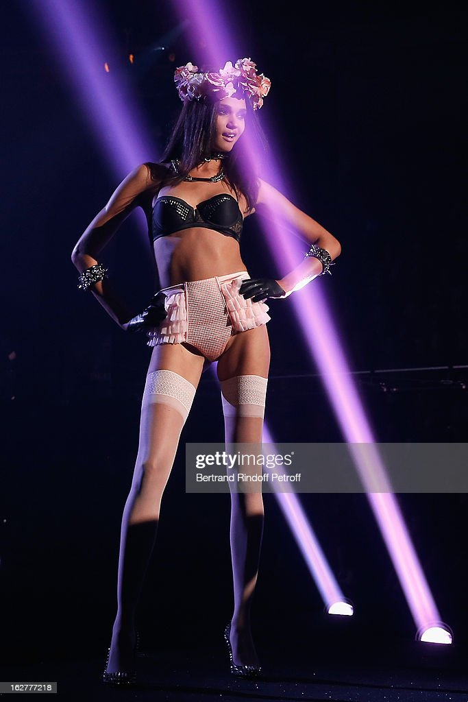A model walks the runway during the Etam Live Show Lingerie at Bourse du Commerce on February 26, 2013 in Paris, France.