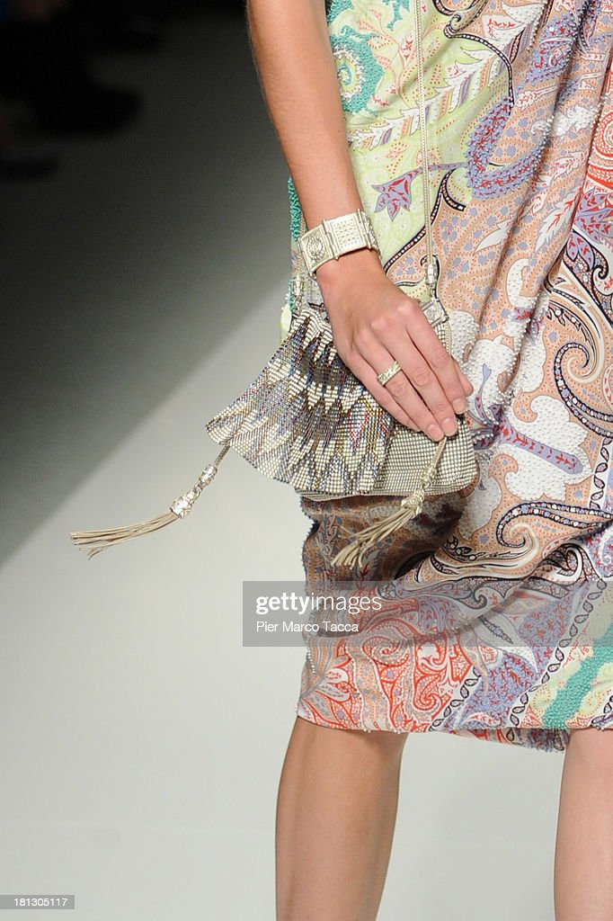 A model walks the runway (handbag detail) during the Etro show as a part of Milan Fashion Week Womenswear Spring/Summer 2014 on September 20, 2013 in Milan, Italy.