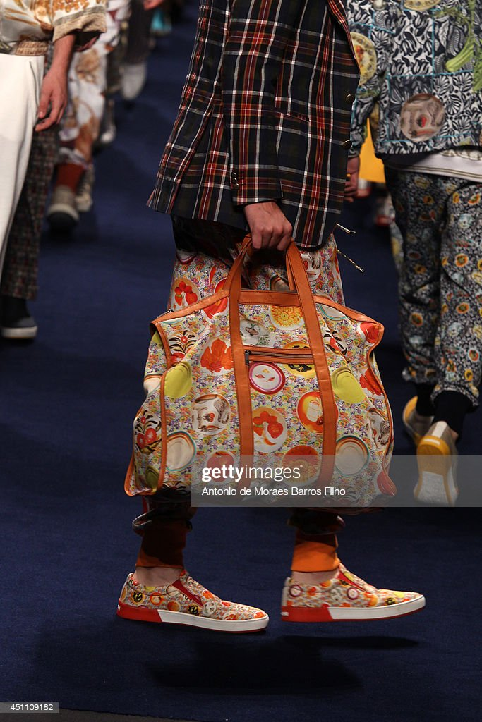 A model walks the runway (detail) during the Etro show as a part of Milan Fashion Week Menswear Spring/Summer 2015 on June 23, 2014 in Milan, Italy.
