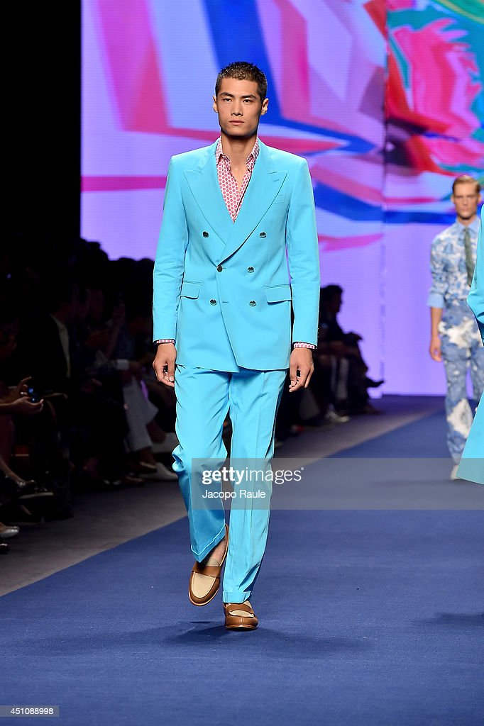 A model walks the runway during the Etro show as part of Milan Fashion Week Menswear Spring/Summer 2015 on June 23, 2014 in Milan, Italy.