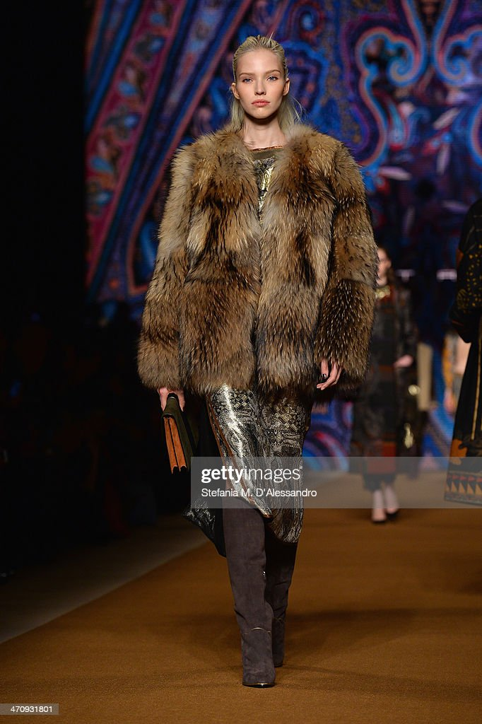 A model walks the runway during the Etro show as part of Milan Fashion Week Womenswear Autumn/Winter 2014 on February 21, 2014 in Milan, Italy.