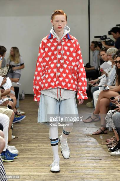 A model walks the runway during the Facetasm Menswear Spring/Summer 2018 show as part of Paris Fashion Week on June 21 2017 in Paris France