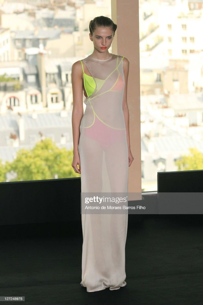 A model walks the runway during the Fatima Lopes Ready to Wear Spring / Summer 2012 show during Paris Fashion Week at Tour Eiffel on September 27, 2011 in Paris, France.