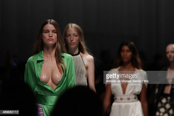 A model walks the runway during the Fausto Puglisi show as a part of Milan Fashion Week Spring/Summer 2016 on September 23 2015 in Milan Italy