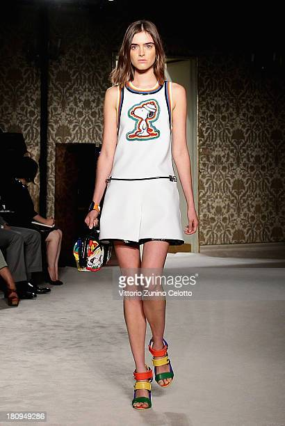 A model walks the runway during the Fay show as a part of Milan Fashion Week Womenswear Spring/Summer 2014 on September 18 2013 in Milan Italy