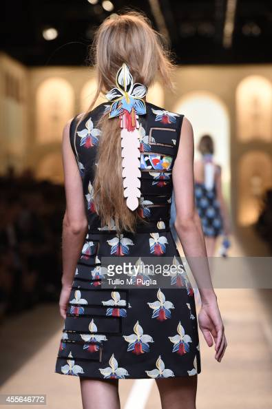 A model walks the runway during the Fend show as a part of Milan Fashion Week Womenswear Spring/Summer 2015 on September 18 2014 in Milan Italy