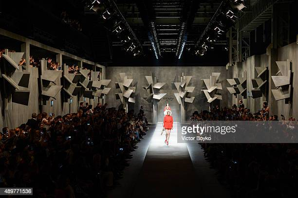 A model walks the runway during the Fendi fashion show as part of Milan Fashion Week Spring/Summer 2016 on September 24 2015 in Milan Italy