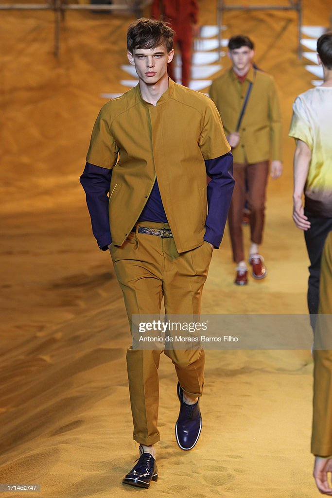 A model walks the runway during the Fendi show as a part of Milan Fashion Week S/S 2014 on June 24, 2013 in Milan, Italy.