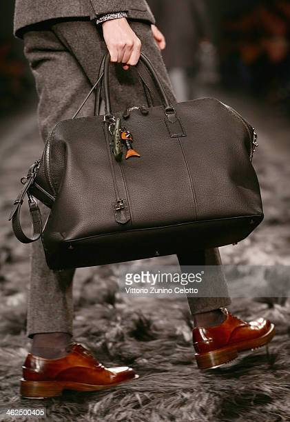 A model walks the runway during the Fendi show as a part of Milan Fashion Week Menswear Autumn/Winter 2014 on January 13 2014 in Milan Italy