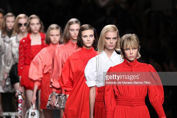 A model walks the runway during the Fendi show as a part of Milan Fashion Week Spring/Summer 2016 on September 24 2015 in Milan Italy
