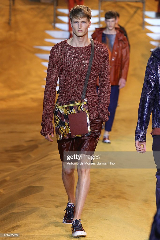 A model walks the runway during the Fendi show as part of Milan Fashion Week S/S 2014 on June 24, 2013 in Milan, Italy.