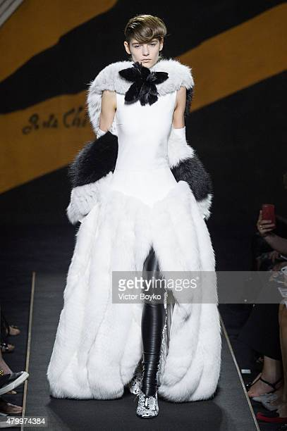 A model walks the runway during the Fendi show as part of Paris Fashion Week Haute Couture Fall/Winter 2015/2016 on July 8 2015 in Paris France