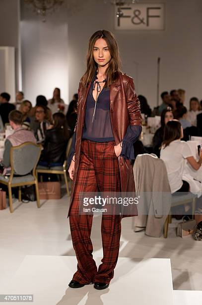 A model walks the runway during the FF AW15 show at The Savoy Hotel on April 21 2015 in London England