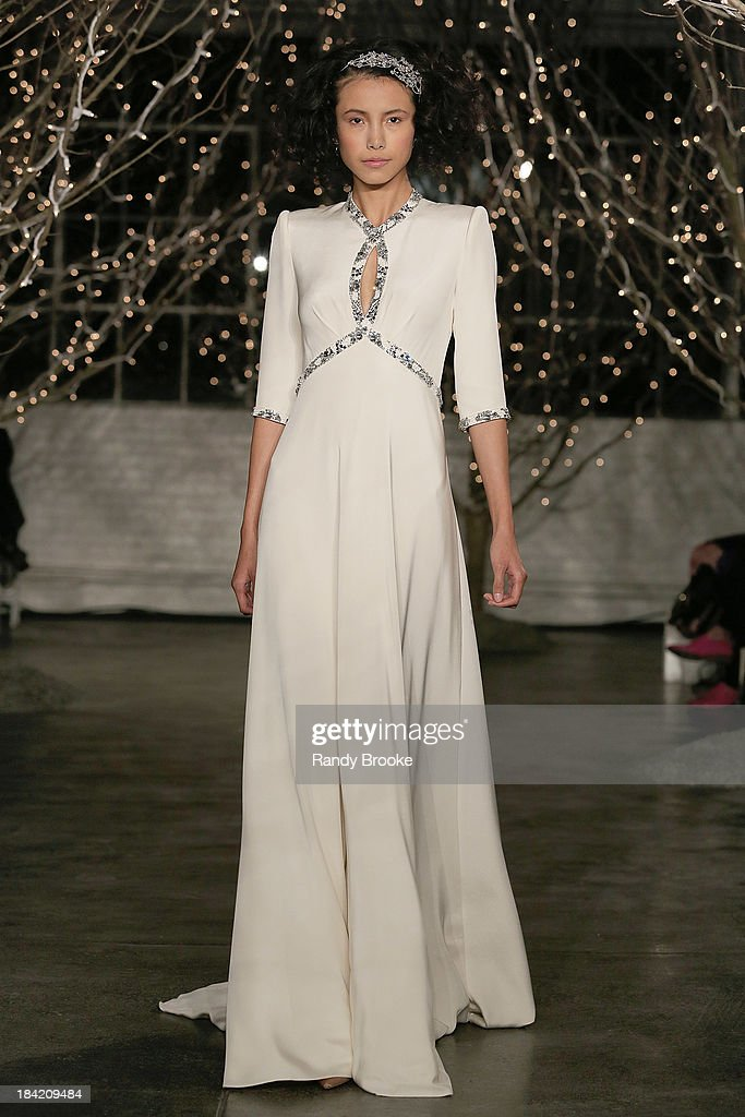 A model walks the runway during the finale at the Jenny Packham Fall 2014 Bridal collection show & 25th anniversary reception on October 11, 2013 in New York City.