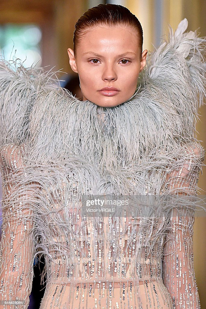 A model walks the runway during the Francesco Scognamiglio Haute Couture Fall/Winter 20162017 show as part of Paris Fashion Week on July 3 2016 in...