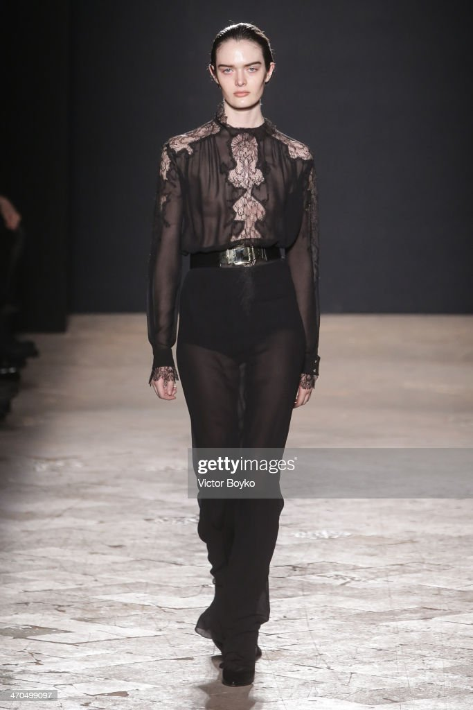A model walks the runway during the Francesco Scognamiglio show as a part of Milan Fashion Week Womenswear Autumn/Winter 2014 on February 19 2014 in...