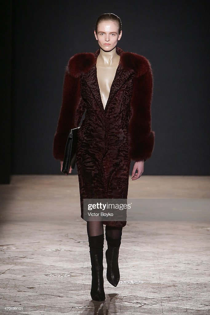 A model walks the runway during the Francesco Scognamiglio show as a part of Milan Fashion Week Womenswear Autumn/Winter 2014 on February 19, 2014 in Milan, Italy.