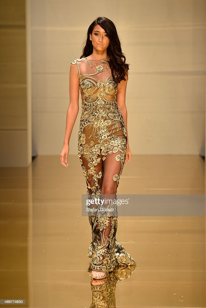 A model walks the runway during the Galanni show at MercedesBenz Fashion Week Australia 2015 at Carriageworks on April 15 2015 in Sydney Australia