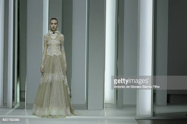A model walks the runway during the Galia Lahav Haute Couture Spring Summer 2017 show as part of Paris Fashion Week on January 26 2017 in Paris France