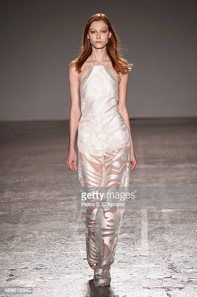 A model walks the runway during the Genny fashion show as part of Milan Fashion Week Spring/Summer 2016 on September 23 2015 in Milan Italy