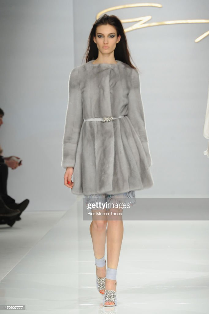 A model walks the runway during the Genny Show as part of Milan Fashion Week Womenswear Autumn/Winter 2014 on February 21, 2014 in Milan, Italy.