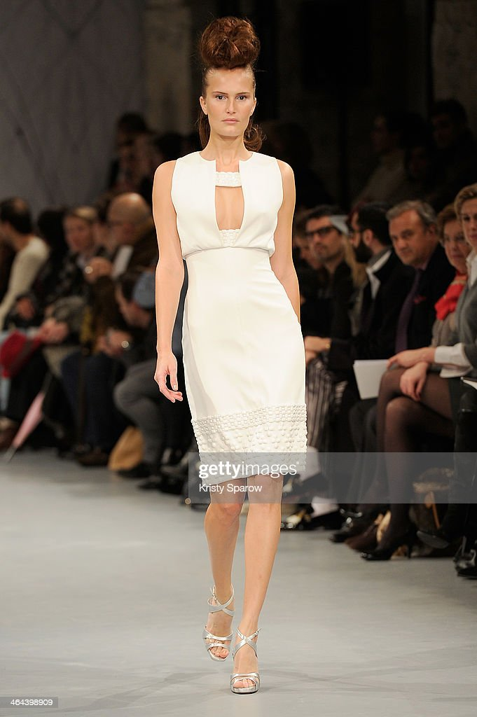A model walks the runway during the Georges Chakra show as part of Paris Fashion Week Haute Couture Spring/Summer 2014 on January 22, 2014 in Paris, France.
