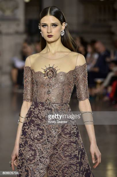A model walks the runway during the Georges Hobeika Haute Couture Fall/Winter 20172018 show as part of Haute Couture Paris Fashion Week on July 3...