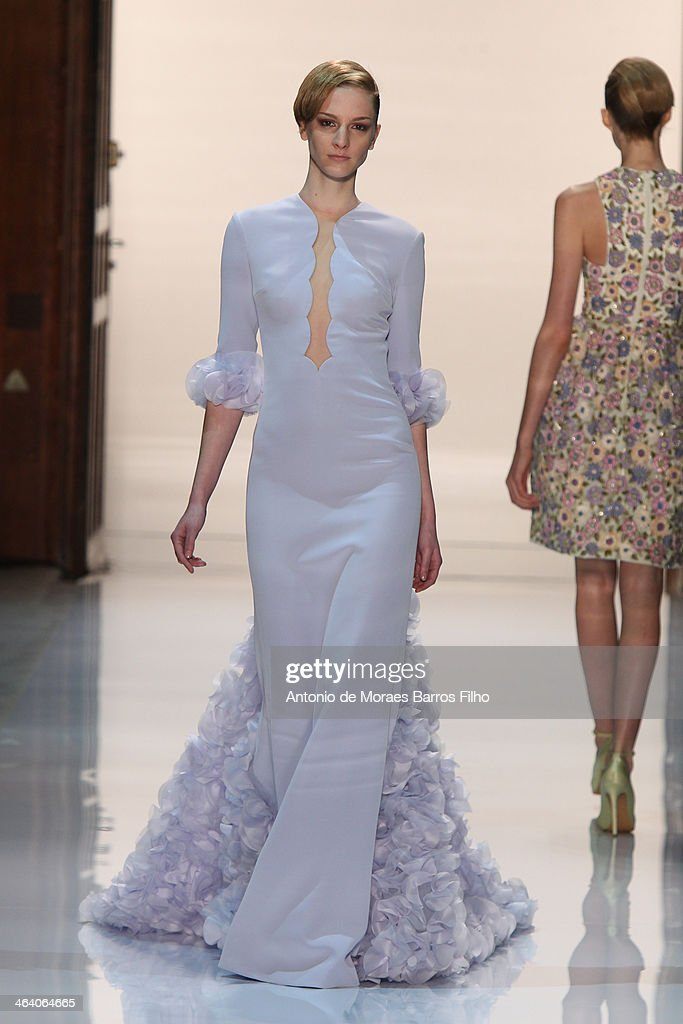 A model walks the runway during the Georges Hobeika show as part of Paris Fashion Week Haute Couture Spring/Summer 2014 on January 20, 2014 in Paris, France.