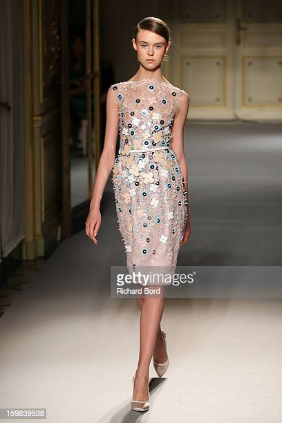A model walks the runway during the Georges Hobeika Spring/Summer 2013 HauteCouture show as part of Paris Fashion Week at Hotel Meurice on January 21...