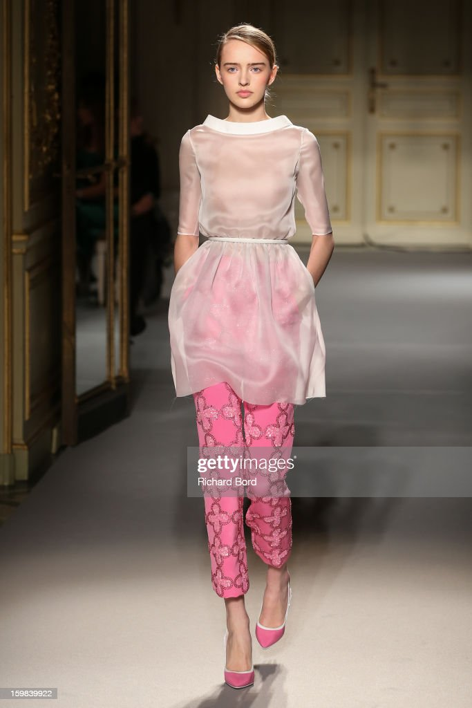 A model walks the runway during the Georges Hobeika Spring/Summer 2013 Haute-Couture show as part of Paris Fashion Week at Hotel Meurice on January 21, 2013 in Paris, France.
