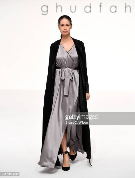 A model walks the runway during the Ghudfa Presentation at Fashion Forward March 2017 held at the Dubai Design District on March 24 2017 in Dubai...
