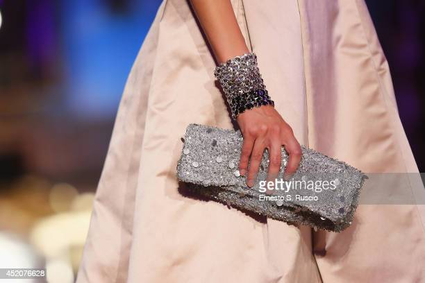 A model walks the runway during the Giada Curti fashion show at Hotel Excelsior as part of AltaRoma Fashion Week A/W 2014 on July 12 2014 in Rome...