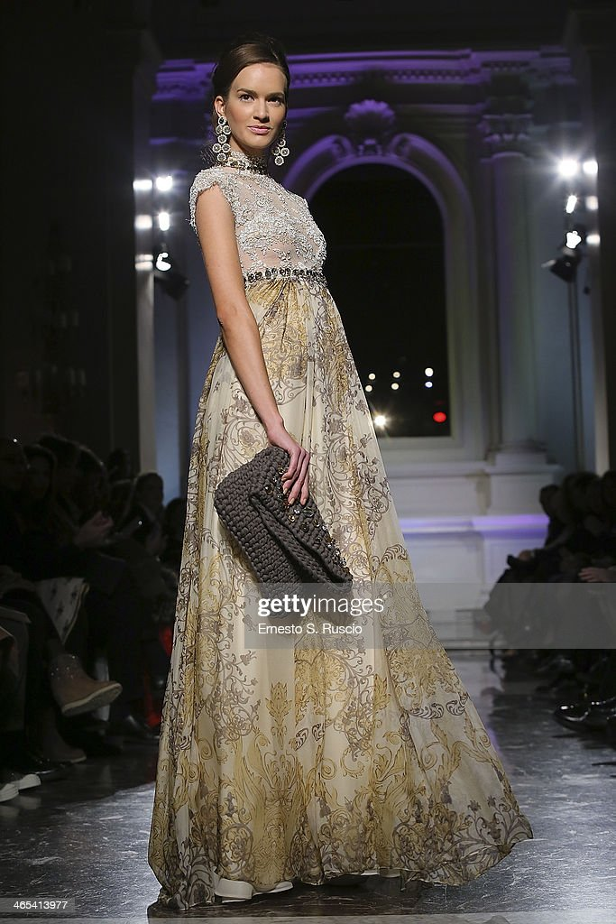 A model walks the runway during the Giada Curti fashion show at Santo Spirito in Sassia as part of AltaRoma Fashion Week Spring/Summer 2014 on...
