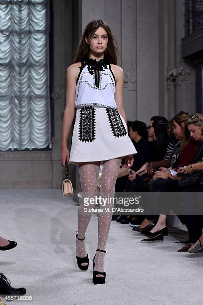 A model walks the runway during the Giamba show as a part of Milan Fashion Week Womenswear Spring/Summer 2015 on September 19 2014 in Milan Italy