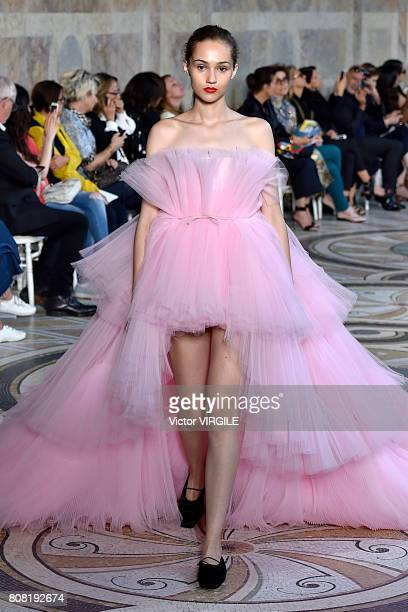 A model walks the runway during the Giambattista Valli Haute Couture Fall/Winter 20172018 show as part of Haute Couture Paris Fashion Week on July 3...