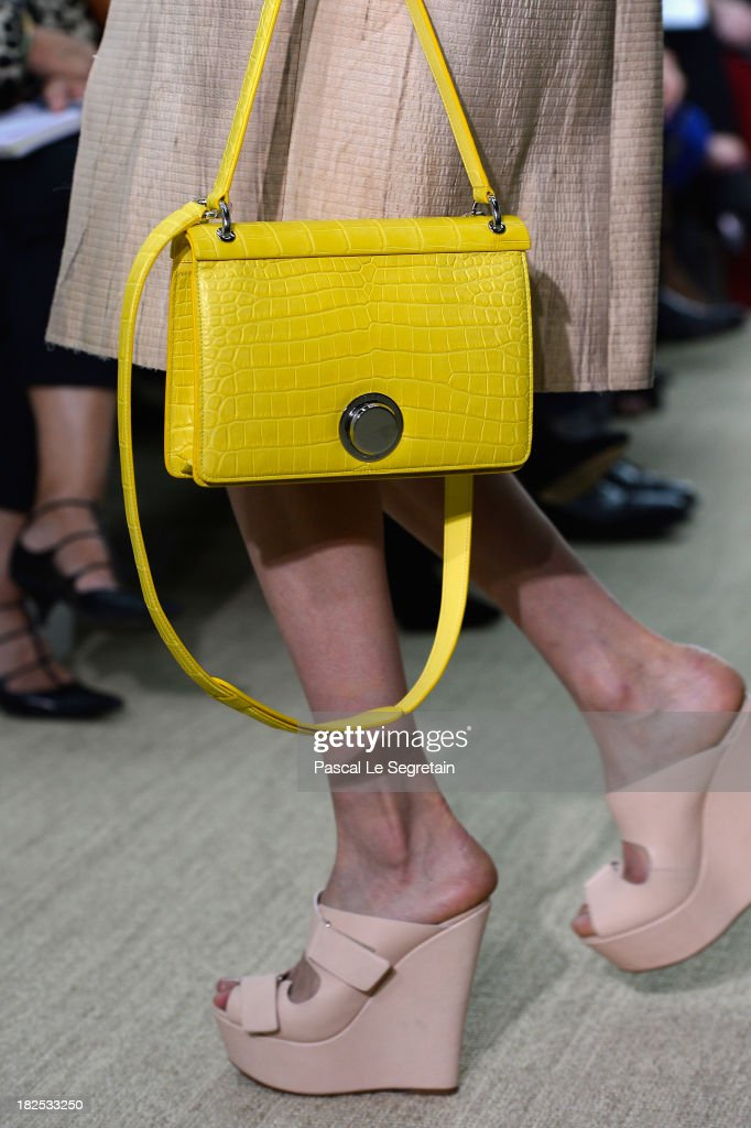 A model (bag detail) walks the runway during the Giambattista Valli show as part of the Paris Fashion Week Womenswear Spring/Summer 2014 on September 30, 2013 in Paris, France.