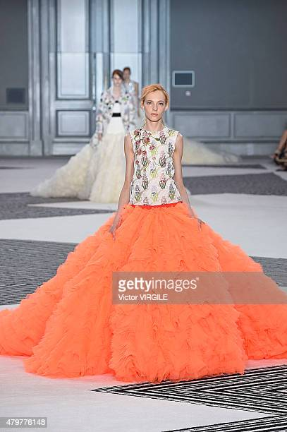 A model walks the runway during the Giambattista Valli show as part of Paris Fashion Week Haute Couture Fall/Winter 2015/2016 on July 6 2015 in Paris...