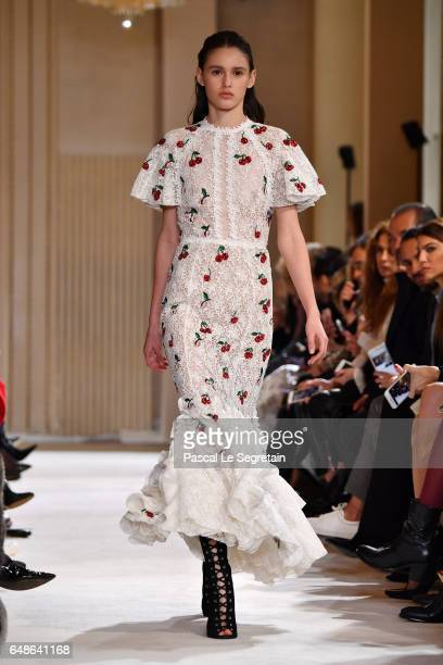 A model walks the runway during the Giambattista Valli show as part of the Paris Fashion Week Womenswear Fall/Winter 2017/2018 on March 6 2017 in...
