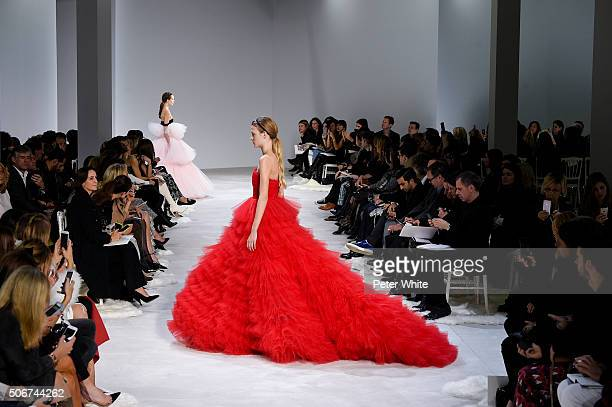 A model walks the runway during the Giambattista Valli Spring Summer 2016 show as part of Paris Fashion Week on January 25 2016 in Paris France