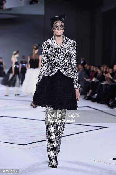 A model walks the runway during the Giambattista Vallishow as part of Paris Fashion Week Haute Couture Spring/Summer 2015 on January 26 2015 in Paris...