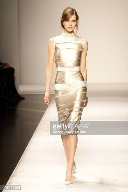A model walks the runway during the Gianfranco Ferre fashion show as part of Milan Fashion Week Womenswear Autumn/Winter 2011 on February 25 2011 in...