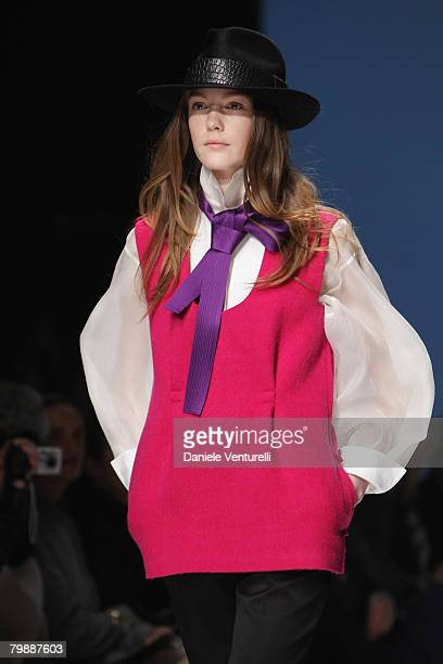A model walks the runway during the Gianfranco Ferre fashion show as part of Milan Fashion Week Autumn/Winter 2008/09 on February 18 2008 in Milan...