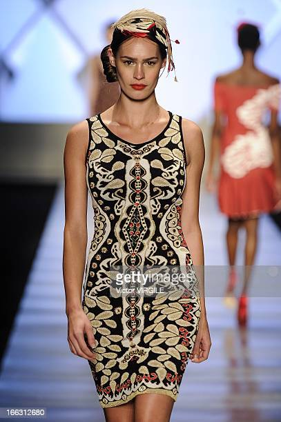 A model walks the runway during the GIG show as part of the Minas Trend Preview Fashion Week Fall/Winter 20132014 on April 10 2013 in Belo Horizonte...