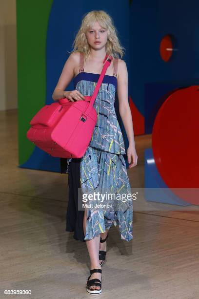 A model walks the runway during the Ginger Smart show at MercedesBenz Fashion Week Resort 18 Collections at The Art Gallery of New South Wales on May...