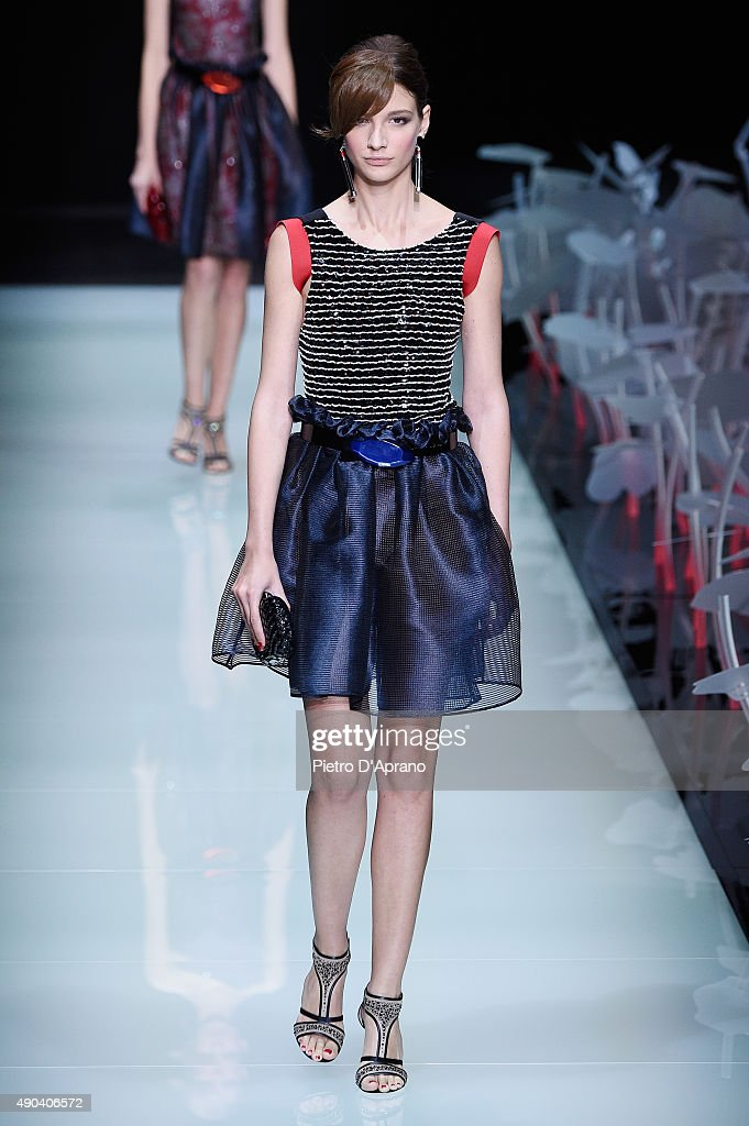 A model walks the runway during the Giorgio Armani fashion show as part of Milan Fashion Week Spring/Summer 2016 on September 28 2015 in Milan Italy