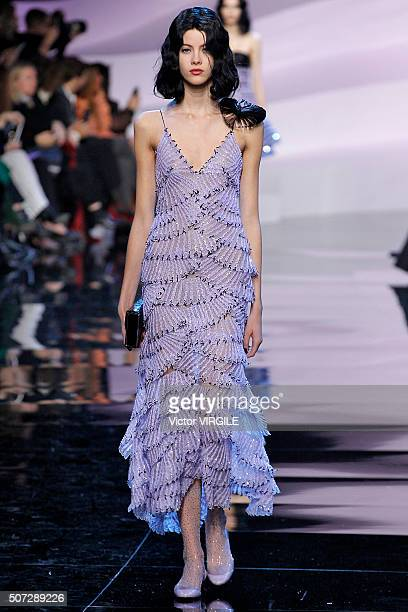 A model walks the runway during the Giorgio Armani Prive Haute Couture Spring Summer 2016 show as part of Paris Fashion Week on January 26 2016 in...