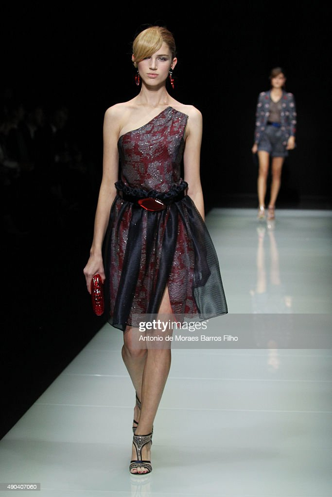 A model walks the runway during the Giorgio Armani show as a part of Milan Fashion Week Spring/Summer 2016 on September 28 2015 in Milan Italy
