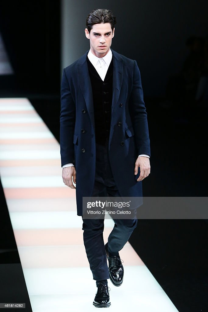 A model walks the runway during the Giorgio Armani Show during as a part of Milan Menswear Fashion Week Fall Winter 2015/2016 on January 20 2015 in...