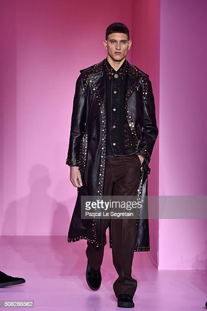 A model walks the runway during the Givenchy Menswear Fall/Winter 20162017 show as part of Paris Fashion Week on January 22 2016 in Paris France