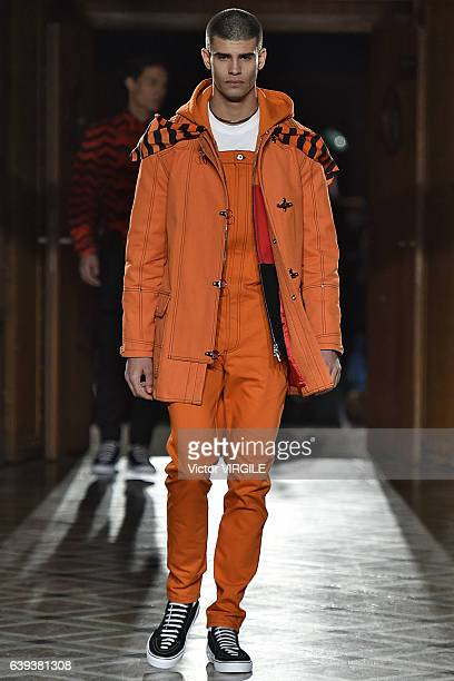 A model walks the runway during the Givenchy Menswear Fall/Winter 20172018 show as part of Paris Fashion Week on January 20 2017 in Paris France